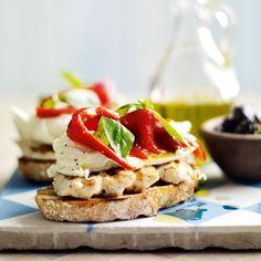 So simple mozzarella open sandwich recipe - Chicken, Mozzarella, peppers, basil