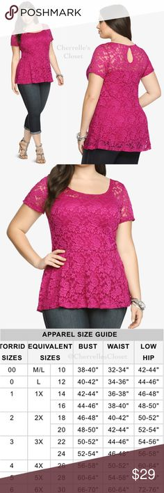 """Torrid Lace Peplum Top Plus Size 1X & 2X NWT Lace is a look we never grow tired of. Add bright berry pink and this style becomes an instant standout. It's semi-sheer floral and altogether flattering. A peplum cut makes this a fun style to rock. ***Sheer lace top only needs a Cami or tank***   Model is 5'8"""", size 1 Size 1 measures 28 3/4"""" from shoulder Nylon/spandex torrid Tops"""