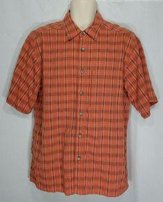 ExOfficio Men's Camp Shirt Large Orange Plaid Short Sleeve Button Front Pocket #ExOfficio #ButtonFront