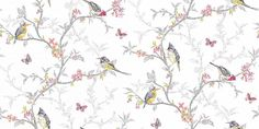 Phoebe White (98080) - Albany Wallpapers - An all over, trailing wallpaper design featuring trailing tree branches with vibrant coloured birds, flowers and butterflies. Shown here in various colours on a fresh white background. Other colourways are available. Please request a sample for a true colour match.