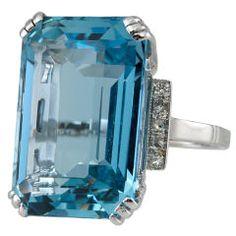 art deco aquamarine ring