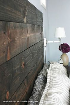 Boards - $5.50 at HomeDepot. Just stain and then screw into the wall. | diy-home.org