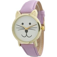 Olivia Pratt Tomcat Watch (1.170 RUB) ❤ liked on Polyvore featuring jewelry, watches, lavender, cat wrist watch, leather-strap watches, cat watches, water resistant watches and cat jewelry
