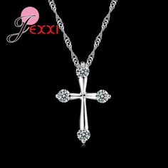 >> Click to Buy << Lovers Best Gift Simple Elegant 925 Sterling Silver Chain Cubic Cross Necklace For Women Best Gift Jewelry #Affiliate