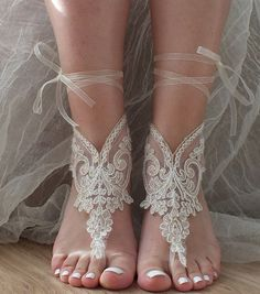 Champagne ivory frame  french lace sandals, wedding anklet, Beach wedding barefoot sandals,