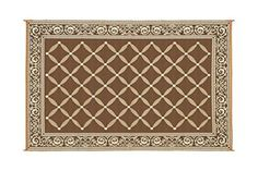 9' x 12' Stylish Camping Mat Brown Beige Beach Paradise Area Rug Outdoor Picnic #ReversibleMats #Holiday