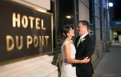 Melissa & Joe outside of the #HotelduPont in #Wilmington #Delaware for their May 2014 wedding reception Photo credit:Reiner Photography www.HotelduPont.com/weddings