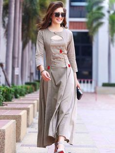 Shop trendy gray colored partywear rayon long kurti , freeshipping all over the world , Item code Salwar Designs, Kurta Designs Women, Kurti Designs Party Wear, Designs For Dresses, Dress Neck Designs, Blouse Designs, Indian Designer Outfits, Designer Dresses, Designer Kurtis