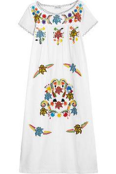 Sensi Studio | Embroidered textured-cotton midi dress | NET-A-PORTER.COM