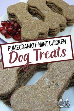 Pomegranate Mint Chicken Homemade Dog Treats, Healthy Dog Treats, Dog Treat Recipes, Fruit Recipes, Chicken Treats, Chicken Recipes, Mint Candy, Biscuit Recipe, Pomegranate