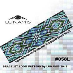 Loom bracelet pattern, loom pattern, square stitch pattern, pdf file, pdf pattern, cuff, #058L by LunamisBeadsPatterns on Etsy
