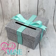 Cardbox - Glitter Silver and Light Aqua Blue Gift Money Box for Any Event - Baby Shower, Wedding, Bridal Shower, Birthday Party,…