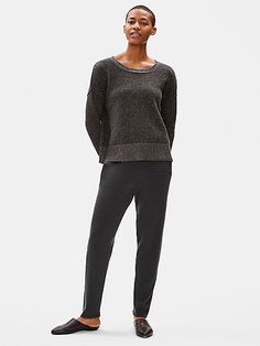The luxury of our merino, now in a slouchy pant with a drawstring waist and tapered leg. Meets the Responsible Wool Standard. Slouchy Pants, Loose Pants, Holiday Looks, Weekend Wear, Ankle Pants, Eileen Fisher, Drawstring Waist, Lounge Wear, Hemline