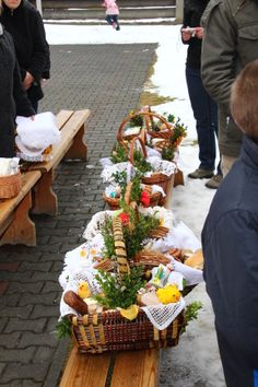 The Blessing of Easter Baskets in Poland. You can read about Easter Polish traditions and book an Easter trip on #polishtrails www.polish-trails.com