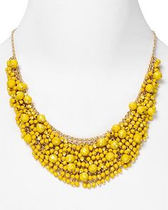 "Cara Stone Cluster Necklace in Yellow, 20"", $75.00"