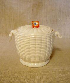 Japanese Majolica Beauchin Ware Basket Weave Biscuit Jar Cookie Jar by ManyAMoonsVintage on Etsy
