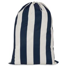 Printed Laundry Bag-Navy Blue Vertical Stripe