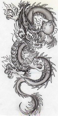Dragon Tattoo With Skull, Dragon Tattoo For Women, Japanese Dragon Tattoos, Japanese Tattoo Art, Dragon Tattoo Designs, Chinese Dragon Drawing, Kunst Tattoos, Bild Tattoos, Body Art Tattoos