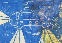 Submarine on vintage world map | linocut