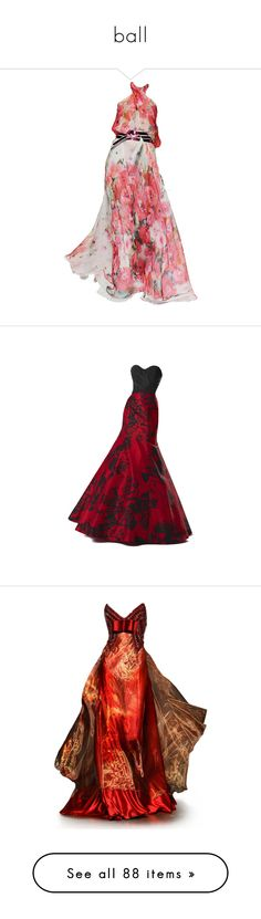 """ball"" by siska93 ❤ liked on Polyvore featuring dresses, gowns, vestidos, haljine, talbot runhof gowns, talbot runhof, talbot runhof dresses, talbot runhof evening gowns, long dresses and long red evening dress"