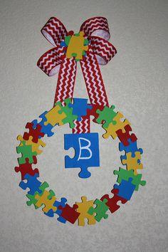 Autism Awareness Puzzle Wreath