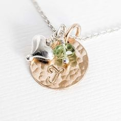 Gold Fill Hammered disc with initial along bottom, hanging on silver chain with silver heart charm and small rondelle birthstone next to disc. Gift Idea for Teen Tween girl or new Mom for Baby's Initial. Our hand stamped personalized two toned 14k gold filled and sterling silver initial disc pendant with rondelle birthstone and heart charm is simple and perfect for a new Mom, teen or tween girl. Birthstone Pendant, Birthstone Necklace, Family Necklace, Personalized Jewelry, Heart Charm, Tween, Hand Stamped, Pink And Gold, Birthstones