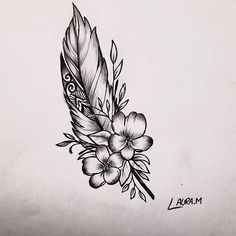 Native Feather Tattoos, Native American Feather Tattoo, Cute Tattoos, Body Art Tattoos, Sleeve Tattoos, Horse Tattoo Design, Tattoo Designs, Tattoo Plume, Miscarriage Tattoo