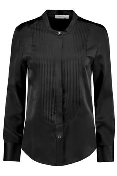 Pintucked silk-satin blouse | Pierre Balmain | THE OUTNET