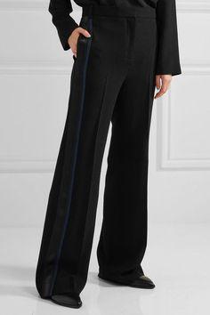 On Hot Sale Grosgrain-trimmed Crepe Wide-leg Pants - Black Victoria Beckham Buy Cheap 100% Authentic Fashionable Online Cheap Popular Vv4Eh12f