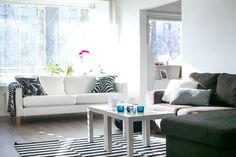 brown and white sofas