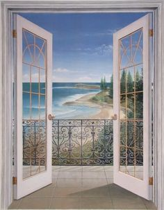 French Doors Seascape - x acrylic on canvas. This mural was installed in the reception area at Body Design Spa. Faux Painting, Mural Painting, Mural Art, Wall Art, Paintings, Door Murals, Window View, Through The Window, Windows And Doors