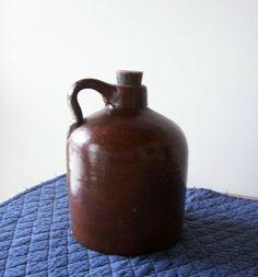 Antique Stoneware Beehive Crock Jug in Brown Salt Glaze - Marked E