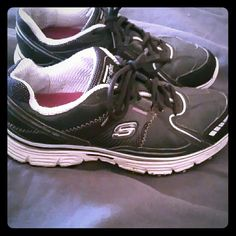 Sketchers Tone-Ups Sz 7.5 Black n white Skechers tone-ups.  Great walking shoes and comfy supportive wear for those who work on their feet all day.  Two cushioned pads on the bottom keep your feet happy and supported. Skechers Shoes Athletic Shoes