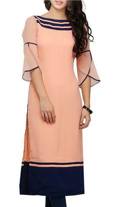 Buy Ojjasvi peach georgette a line kurta Online, , LimeRoad Kurti Sleeves Design, Kurta Neck Design, Sleeves Designs For Dresses, Dress Neck Designs, Sleeve Designs, Chudidhar Neck Designs, Simple Kurti Designs, Stylish Dress Designs, Stylish Dresses