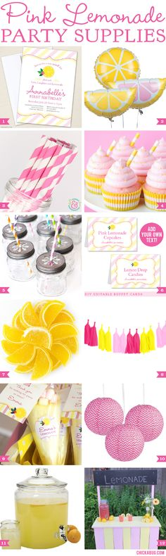 Pink Lemonade Party Supplies | Chickabug