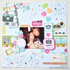 """Layout using """"Kaisercraft - Happy Snaps"""". Clear stickers by """"Simple Stories"""". Black ink splatter using Heidi Swapp's Black Velvet Spray. Freckled Fawn - neon enamel dots."""