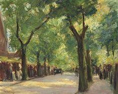 Die Grosse Seestrasse in Wannsee mit Spaziergängern By Max Liebermann ,1923