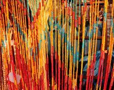 Beaded Curtain with Colorful Vintage Design (Door Wall) Bohemian Interior, Bohemian Decor, Boho, Folding Screen Room Divider, Folding Screens, Room Dividers, Retro Design, Vintage Designs, Beaded Door Curtains