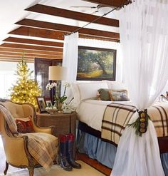 English equestrian style works well for this space - The Polohouse: Midwest Living - Equestrian Bedroom, Equestrian Decor, Equestrian Style, Home Bedroom, Bedroom Decor, Plaid Bedroom, Plaid Bedding, Boy Bedding, White Bedding