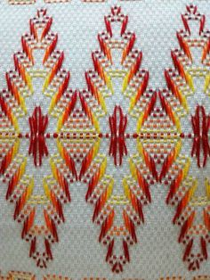Embroidery Stitches Tutorial, Embroidery Patterns, Hand Embroidery, Swedish Embroidery, Mexican Embroidery, Cat Cross Stitches, Cross Stitch Patterns, Swedish Weaving Patterns, Monks Cloth