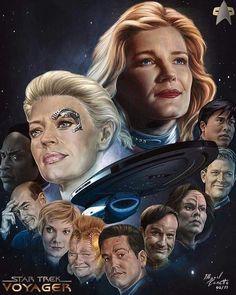 What a wonderful piece of art work of Captain Janeway and her Crew by fineartamerica ♥️♥️♥️ Star Trek Tv, Star Trek Ships, Star Wars Art, Star Trek Enterprise, Star Trek Voyager, Science Fiction, Captain Janeway, Starfleet Ships, Star Trek Images