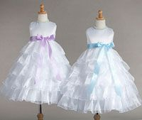 Flower Girl Dress Style 882- White Satin and Organza Dress with Ruffle Skirt in Choice of Color