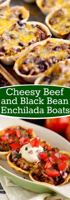 These Cheesy Beef and Black Bean Enchilada Boats are the perfect quick dinner on busy weeknights! Packed full of flavor and so fun to eat!