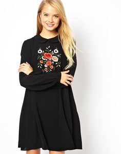 ASOS Swing Dress With Embroidered Front