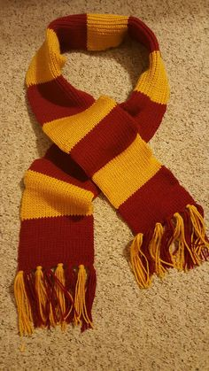 Gryffindor Scarf (Trapped Bar Style) - Double Knit or Knit ...