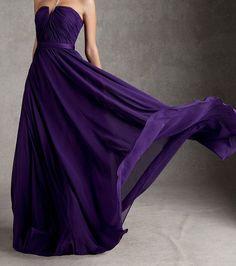 Purple bridesmaid dress chiffon bridesmaid dress party dress strapless floor length dress / short bridesmaid dresses on Etsy, $85.00