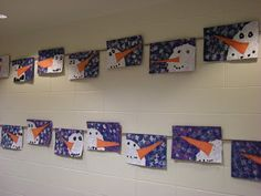 Paper piece snowman with sponge background 1st Grade