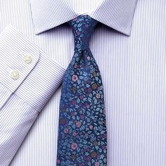 Men/'s Classic Pinstriped Cotton Blend Dress Shirt with Slim Tie Set #41