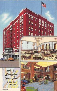 Il Illinois Quincy Hotel Lincoln Douglas Linen Postcard