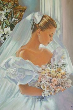 The Bride. Painting by Andy Lloyd, fine artist and author based in Gloucester, England. Images Vintage, Vintage Wedding Photos, Vintage Bridal, Vintage Pictures, Vintage Art, Vintage Weddings, Wedding Art, Wedding Bride, Wedding Dress